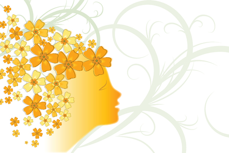 Creative illustration of a young girl face on floral design decorated background.