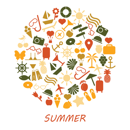 Colored summer symbols on a white background. Summer icons.- Illustration.
