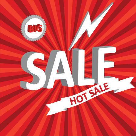 Sale poster. Vector illustration. Design template for holiday sale event. 3d white text SALE- Illustration