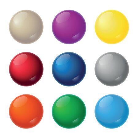 Realistic Balls - Nine Color Shades - Illustration Illustration