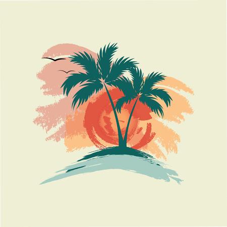 Palm trees, sun and gulls - Illustration