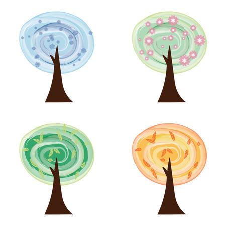 set of watercollor trees Four seasons