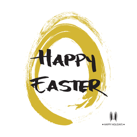 Greeting card with Easter egg and handwritten inscription Happy Easter. Vector illustration. Design element for invitations, greeting cards. Illustration