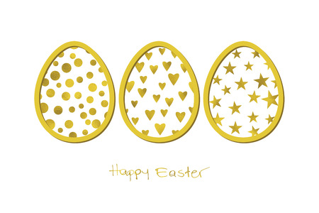 Easter white background with gold eggs and Grunge Calligraphic Text. Vector illustration. Design element for invitations, greeting cards.