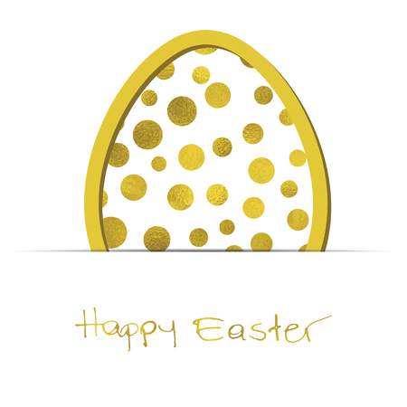 Easter white background with gold egg and Grunge Calligraphic Text. Vector illustration. Design element for invitations, greeting cards.
