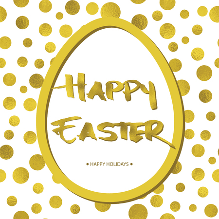 Easter background with gold circles, big egg and Grunge Calligraphic Text. Vector illustration. Design element for invitations, greeting cards. Illustration
