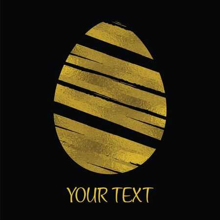 Gold Foil Happy Easter Greeting Egg Card. Black Background. Decorative Design Element. Stock vector