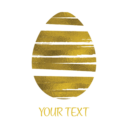 Gold Foil Happy Easter Greeting Egg Card. White Background. Decorative Design Element.
