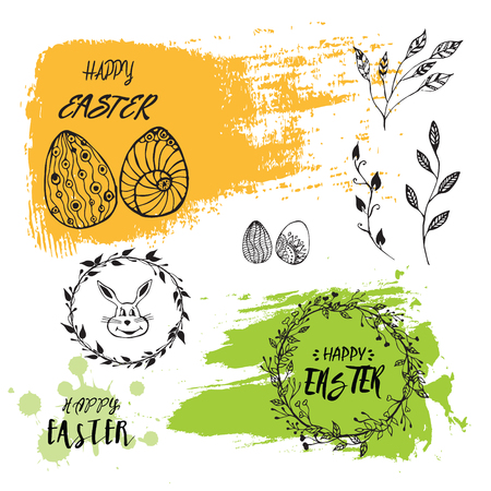Vector Easter card and hand drawn elements: bunny, eggs and wreath. Modern brush calligraphy. Ink handwriting inscriptions. Typography and lettering.