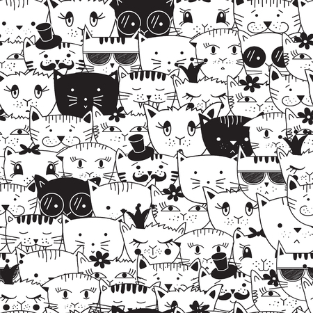 Seamless pattern with doodle cats. Cats head animal pattern. Can be used for textile, website background, book cover, packaging.