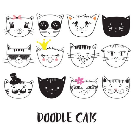 Cats, set of cute doodle. Can be used for school books and drawing poster, T-shirt Print and cartoon character.