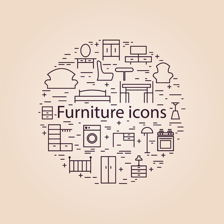 furnishings: Furniture icons. Thin line art icons set. Vector illustration design elements. Illustration