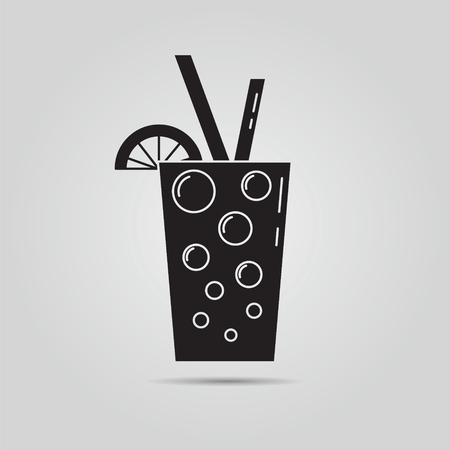 Cocktail or juice icon. Button. Vector illustration.