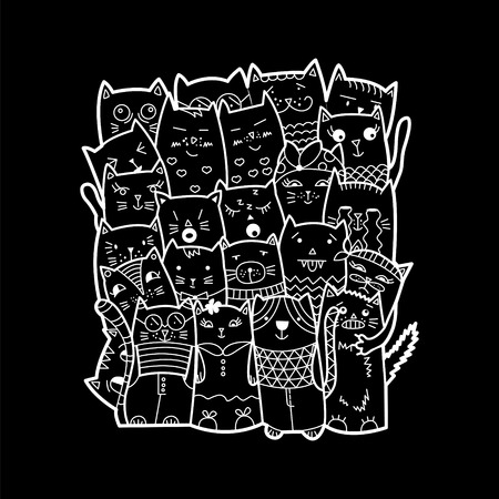 Cute cats, doodle style. Can be used for school books and drawing poster, T-shirt Print and cartoon character. Illustration