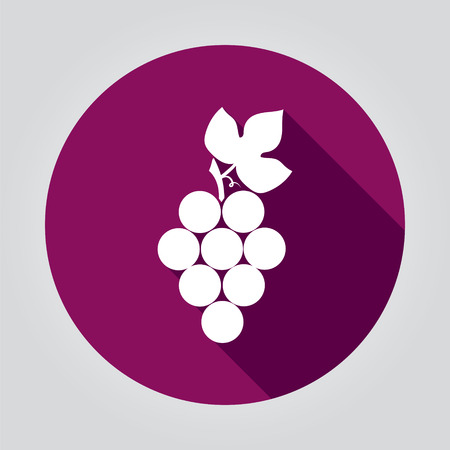 Grapes icon with shadow. isolated on stylish background.