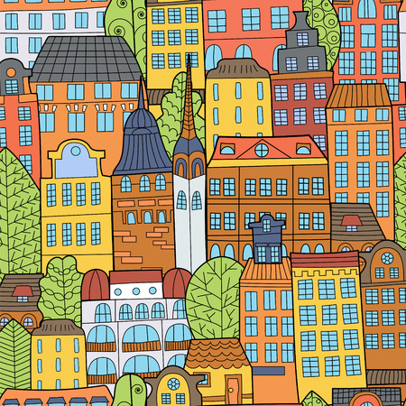 Hand drawn doodle houses. Can be used for school books, poster and background Drawing Doodle.