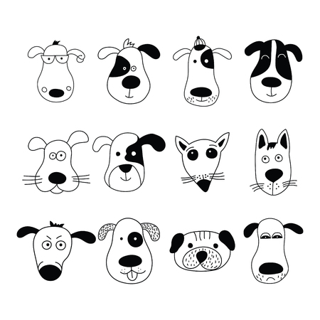 Dogs, set of cute doodle. Can be used for school books and drawing poster, T-shirt Print and cartoon character.