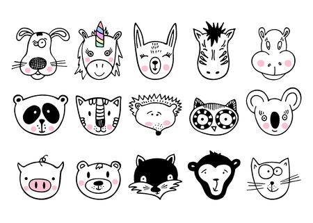 Animali disegnati a mano, disegno semplice. Set di cute doodle. Può essere utilizzato per i libri scolastici e il disegnatore poster, la maglietta Stampa e il personaggio dei cartoni animati.