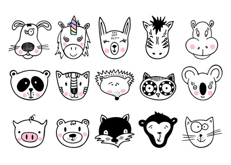 Hand drawn animals, simple design. Set of cute doodle. Can be used for school books and drawing poster, T-shirt Print and cartoon character. Illustration