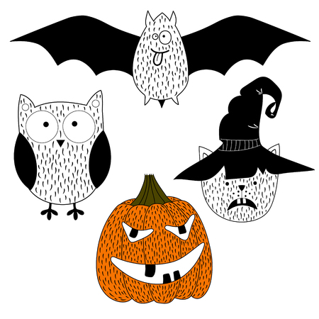 Halloween Silhouettes. Owl, pumpkin, black cat. Halloween party. Vector icons. Stock Vector - 88305794