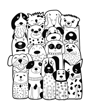 Cute dogs, doodle style funny animals vector illustration. Can be used for child books, cards, mug, t-shirt print. Illustration