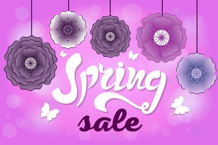 Spring sale banner with paper flowers vector illustration Illustration
