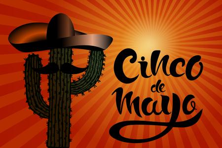 Happy Cinco de Mayo greeting card with hand drawn cactus, sombreros and lettering Cinco de Mayo! Creative vector illustration.
