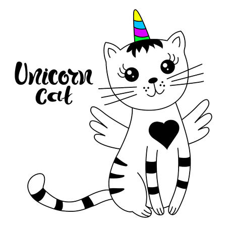 Cute cat unicorn. Design for child card, sticker, badge, patch, phone case, poster, t-shirt, mug etc. Ilustrace