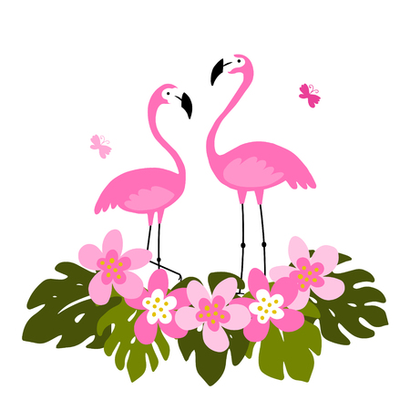 Tropical background with pink flamingos, palm leaves and flowers.  Exotic bird. Illustration