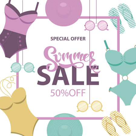 Summer Sale banner with swimsuits, sunglasses, hats, flip flops. Flat style.