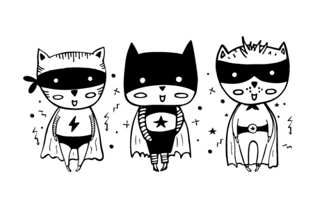 Cartoon superheroes in black costumes. Cute animals. Can be used for invitation cards and drawing poster, T-shirt Print and cartoon character. Illustration