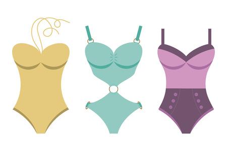Women swimsuits. Flat style.Vector illustration.