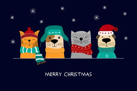 Ilustración de feliz Navidad de gatos lindos y perros divertidos. Ilustración de vector