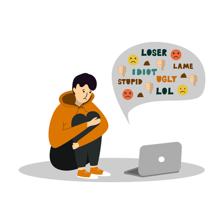 Young teenage boy sitting in front of the laptop on white background. Cyber Bullying. Vetores