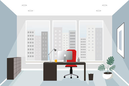 Office interior concept. Flat style. Modern business workspace with office furniture: chair, desk and computer. Vector illustration.