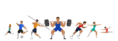 Athletes with prosthetic legs on a white background. Sports poster.