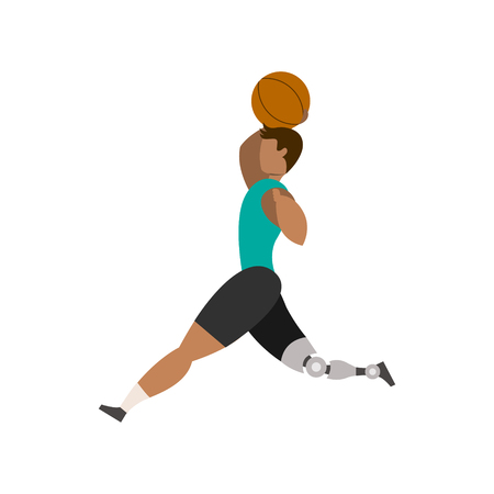 Basketball player with legs bioprosthesis on a white background. Paralympic Sport Concept. Illustration