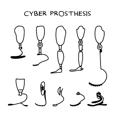 Ensemble de dix prothèses dessinées à la main sur fond blanc. Prothèse de jambe. Mécanisme prothétique exosquelette moderne. Cyberprothèse. Illustration vectorielle.
