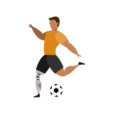 Football player with leg bioprosthesis on a white background. Paralympic Sport Concept. Vettoriali