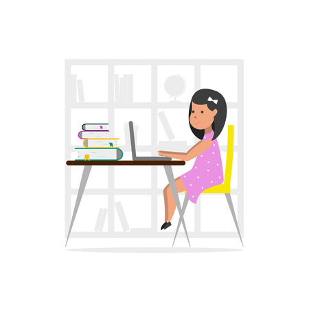 Small girl at home using a laptop computer.  Online Education concept. Illustration