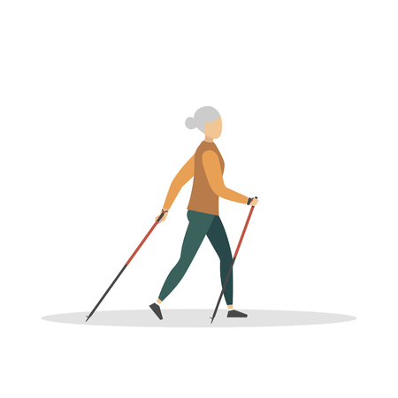 Nordic walking. Old woman hiking with nordic walking poles. Vector illustration. Cartoon. Çizim