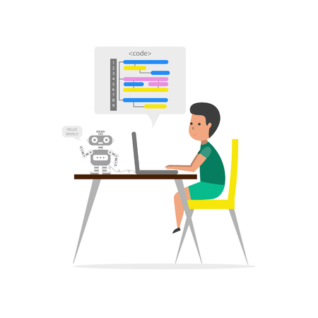 Small boy sitting in front of his laptop and writing code. Robotics technology. Children coding. Vector illustration.