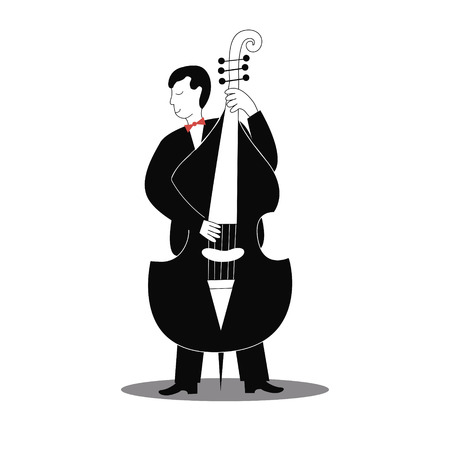Cellist man in classic black costume playing cello.Vector illustration.