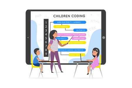 A teacher is using a tablet explains  coding for children. Vector illustration. Children coding. Illustration