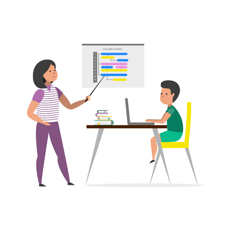 Small boy sitting in front of his laptop computer and listen teacher. Children coding. Vector illustration.