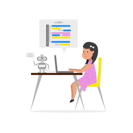Small girl sitting in front of her laptop and writing code. Robotics technology. Children coding. Vector illustration. Illustration