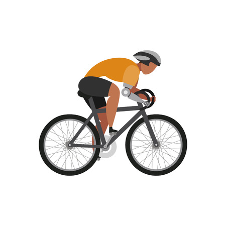 Cyclist with arm bioprosthesis on a white background. Sport Concept. Vector illustration. Illustration