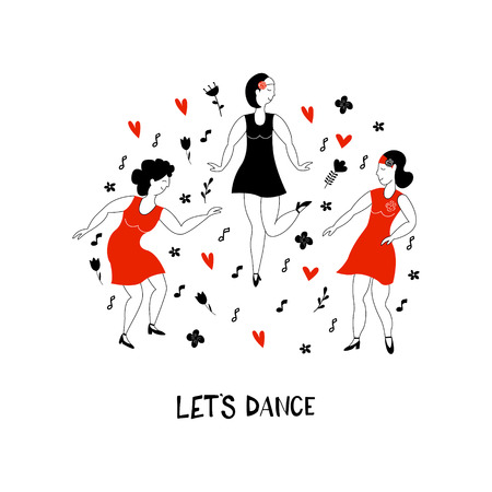 Dancing girls vector illustration. Dance party. Three happy girls are dancing jazz. Illustration