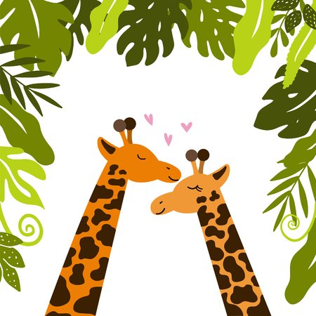 Cute giraffes cuddle under tropical leaves. Happy valentines day. Vector illustration.