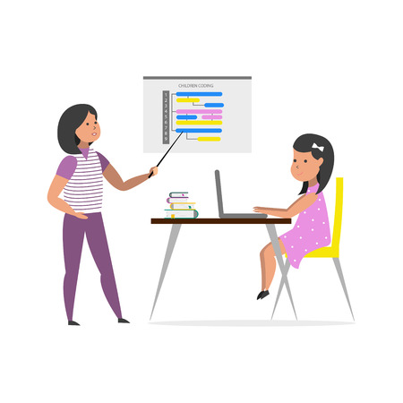 Small girl sitting in front of her laptop computer and listen teacher. Children coding. Vector illustration.